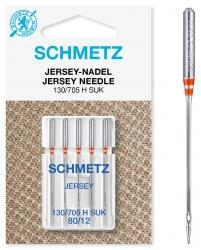 Šujmašīnas adatu komplekts sadzīves šujmašīnām trikotāžai Schmetz Jersey (5 gab. Nm.80)