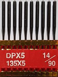 DPx5 (134LR) PVD NM90 (ar titāna pārklājumu) adatas rūpnieciskajai šujmašīnai TRIUMPH (10 gab.)