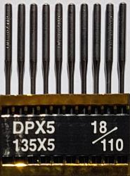 DPx5 (134LR) PVD NM110 (ar titāna pārklājumu) adatas rūpnieciskajai šujmašīnai TRIUMPH (10 gab.)